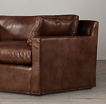 5' Belgian Track Arm Leather Sofa