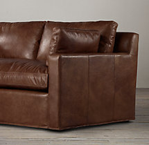 6' Belgian Track Arm Leather Sofa