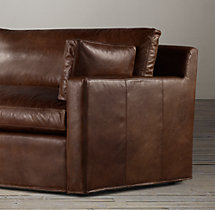 8' Belgian Track Arm Leather Sleeper Sofa