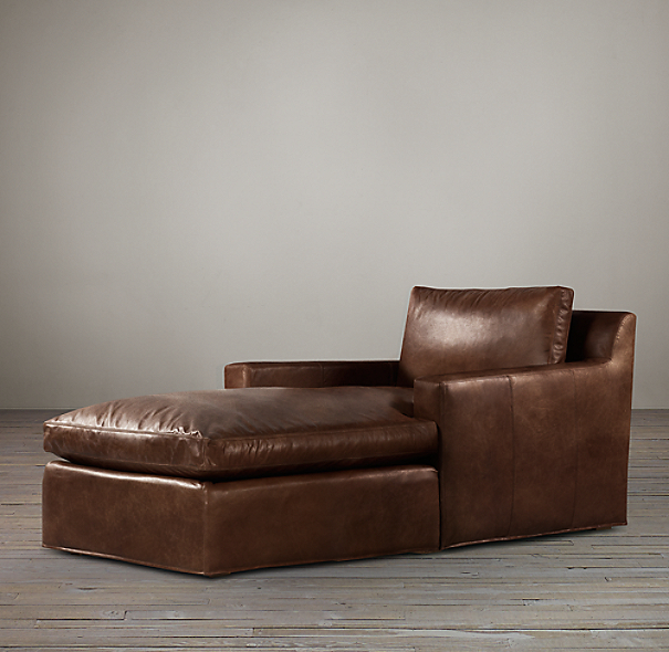 Belgian Track Arm Leather Chaise