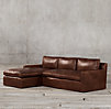 Belgian Track Arm Leather Left Arm Sofa Chaise