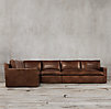 Belgian Track Arm Leather L-Sectional