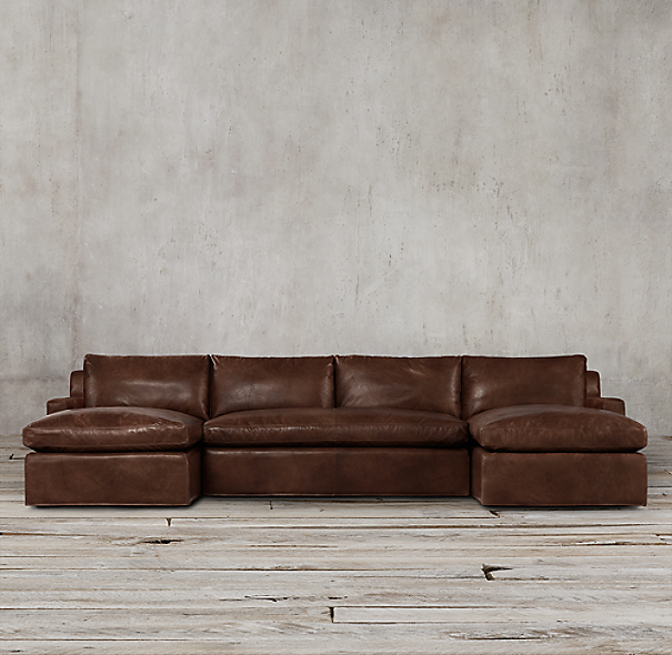 Belgian Track Arm Leather U-Chaise Sectional