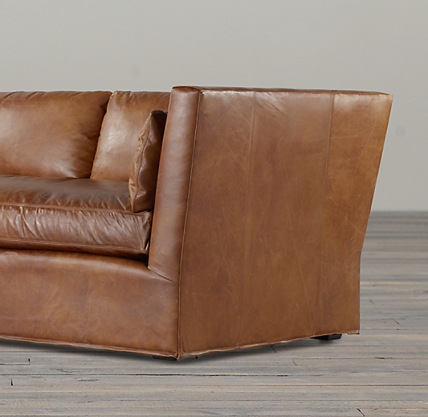 7' Belgian Shelter Arm Leather Sofa