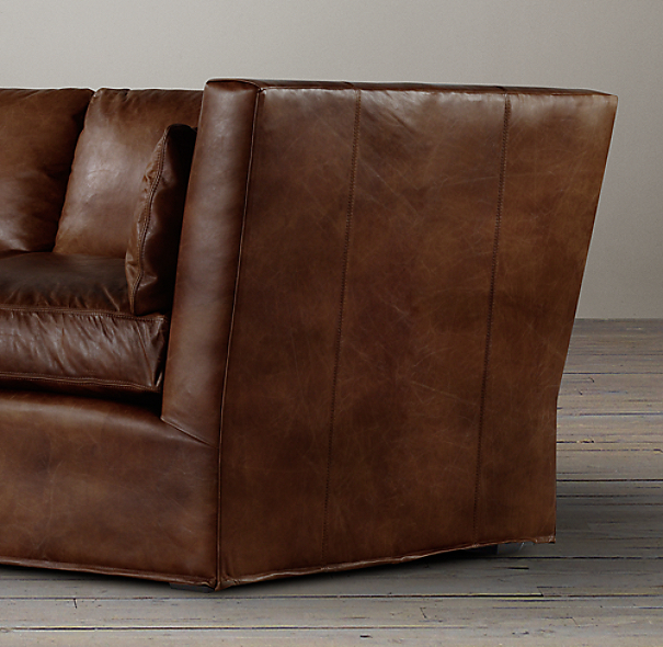 10' Belgian Shelter Arm Leather Sofa
