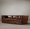 9' Belgian Shelter Arm Leather Sofa
