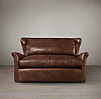 5' Belgian Wingback Leather Sofa