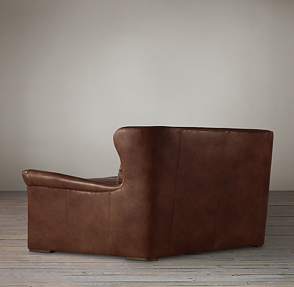 6' Belgian Wingback Leather Sofa