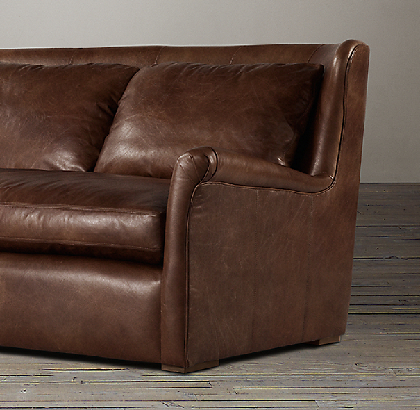 9' Belgian Wingback Leather Sofa