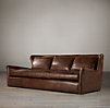 8' Belgian Wingback Leather Sofa