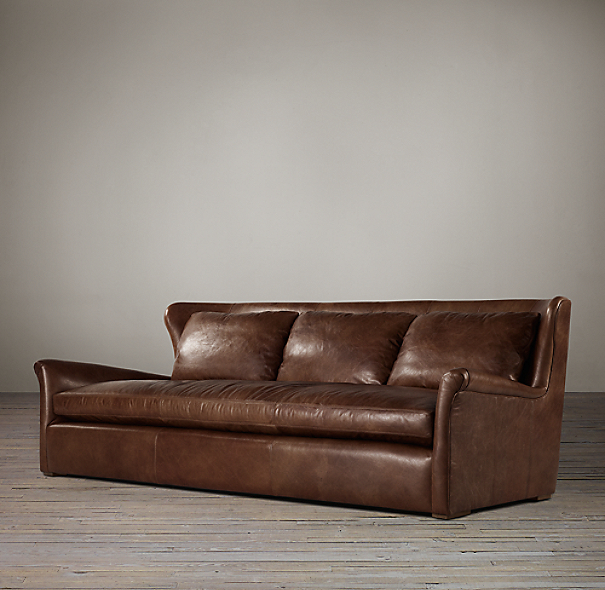7' Belgian Wingback Leather Sofa