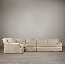 Belgian Classic Roll Arm Slipcovered L-Sectional