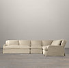 Belgian Classic Roll Arm Slipcovered Right-Arm L-Sectional