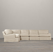 English Roll Arm Slipcovered L-Sectional