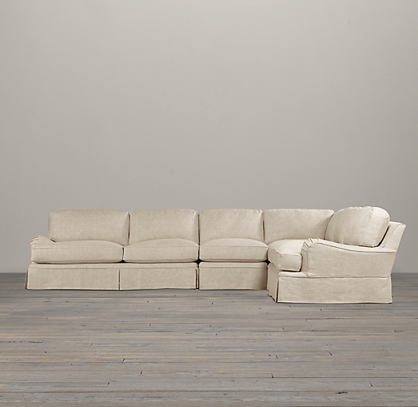 English Roll Arm Slipcovered Right-Arm L-Sectional