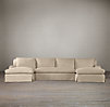 Belgian Classic Roll Arm Slipcovered U-Chaise Sectional