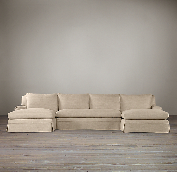 English Roll Arm Slipcovered U-Chaise Sectional