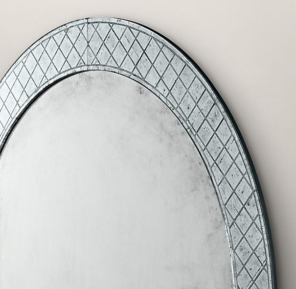 18th c venetian cut glass round mirror for Restoration hardware round mirror