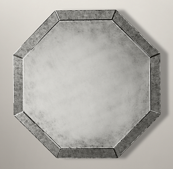 Palazzo Antiqued-Glass Octagonal Mirror