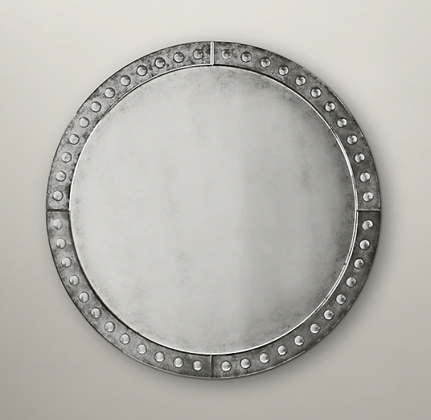 Palazzo antiqued glass round mirror for Restoration hardware round mirror