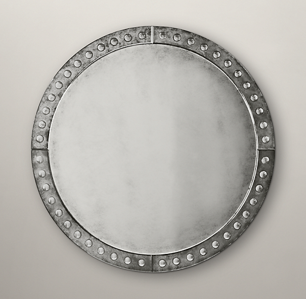 Palazzo Antiqued-Glass Round Mirror
