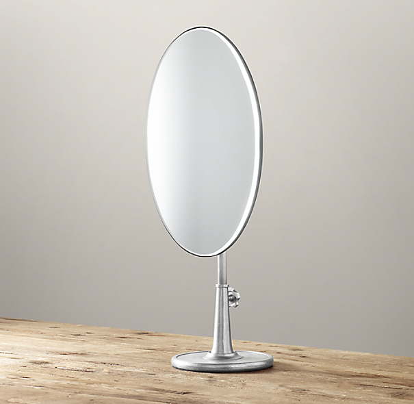Telescoping Tabletop Mirror Dark Nickel Oval