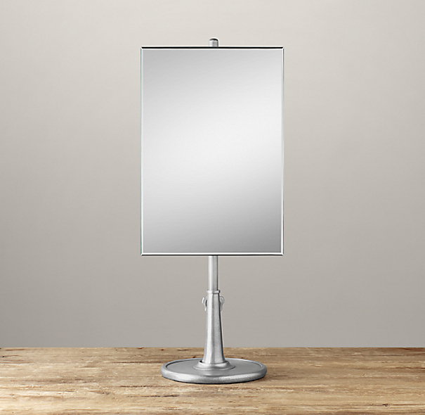 Telescoping Tabletop Mirror Dark Nickel Rectangle