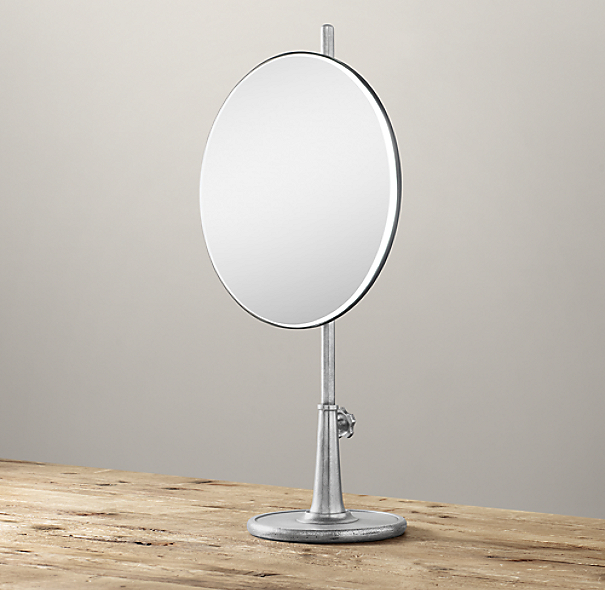 Telescoping Tabletop Mirror Dark Nickel Round