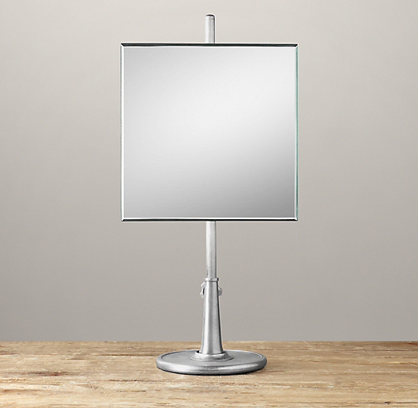 Telescoping Tabletop Mirror Dark Nickel Square