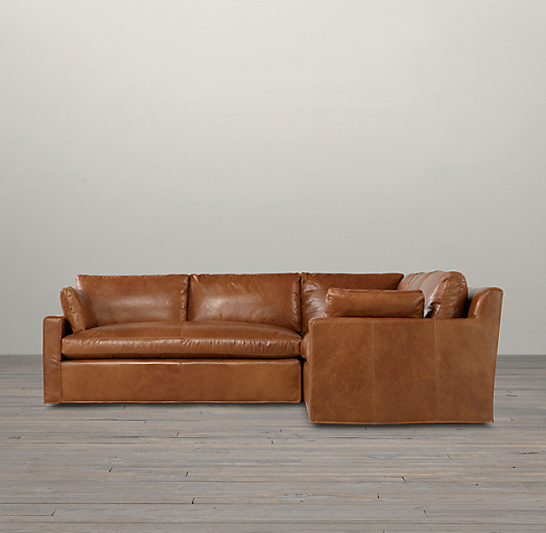 Belgian Track Arm Leather Corner Sectional