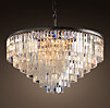 1920s Odeon Glass Fringe 7-Ring Chandelier Iron