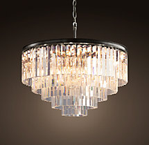 1920s Odeon Glass Fringe 5-Ring Chandelier Iron