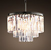 1920s Odeon Glass Fringe 3-Ring Chandelier Iron