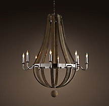 Wine Barrel 8-Arm Chandelier Polished Nickel