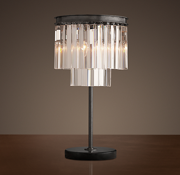 1920s odeon clear glass fringe table lamp grey iron - Restoration hardware lamps table ...