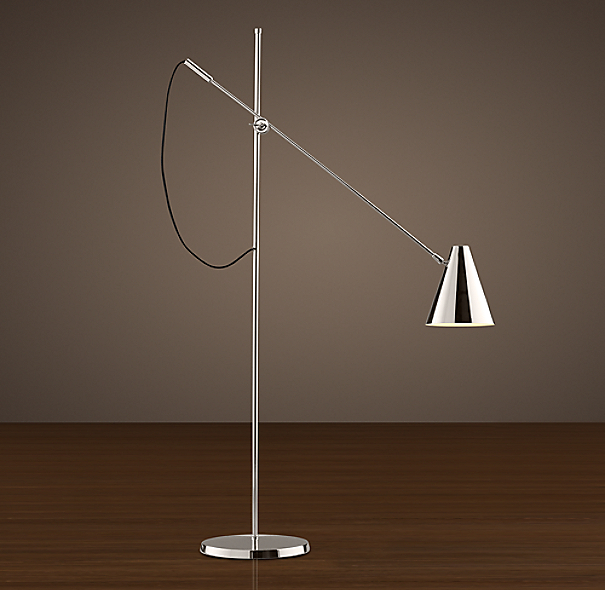 20th C. Torpedo Task Floor Lamp Polished Nickel