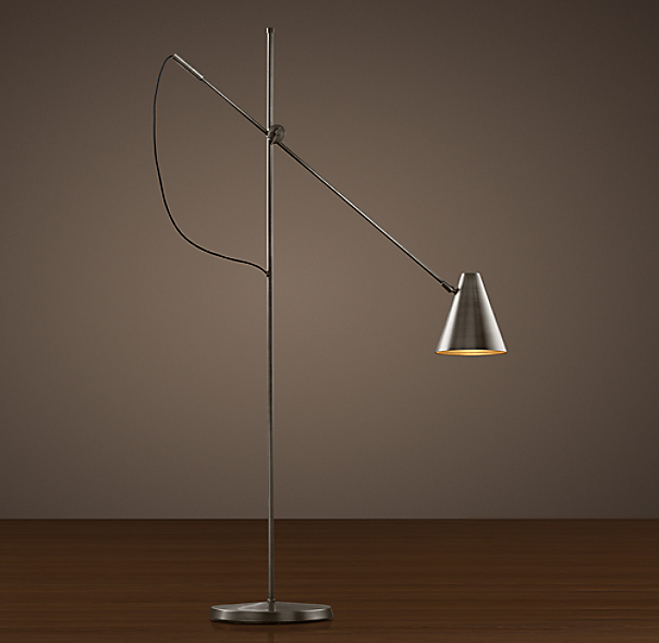 20th C. Torpedo Task Floor Lamp Aged Steel