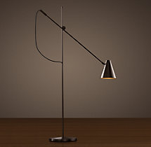 20th C. Torpedo Task Floor Lamp Bronze