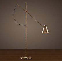 20th C. Torpedo Task Floor Lamp Vintage Brass