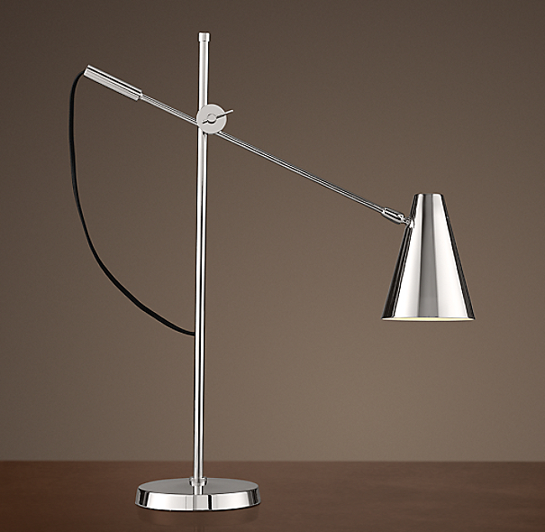 20th C. Torpedo Task Table Lamp Polished Nickel