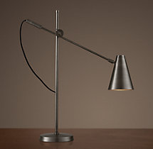 20th C. Torpedo Task Table Lamp Aged Steel