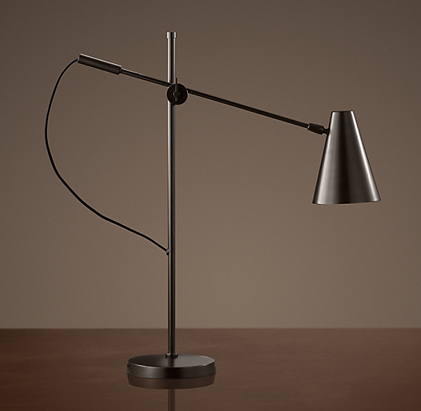 20th C. Torpedo Task Table Lamp Bronze