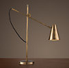 20th C. Torpedo Task Table Lamp Vintage Brass
