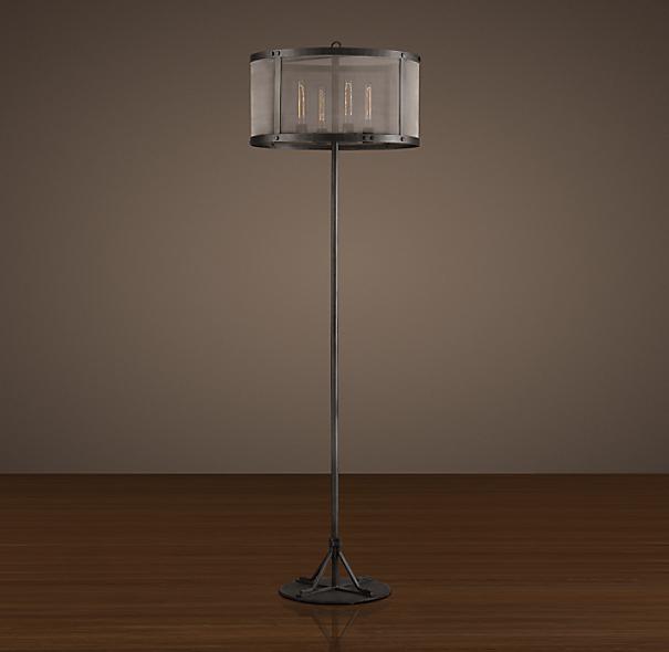 riveted mesh floor lamp. Black Bedroom Furniture Sets. Home Design Ideas