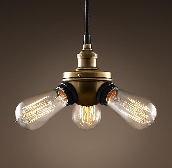 Triple Edison Bulb Lamp: 20th C. Factory Filament Bare Bulb Triple Pendant