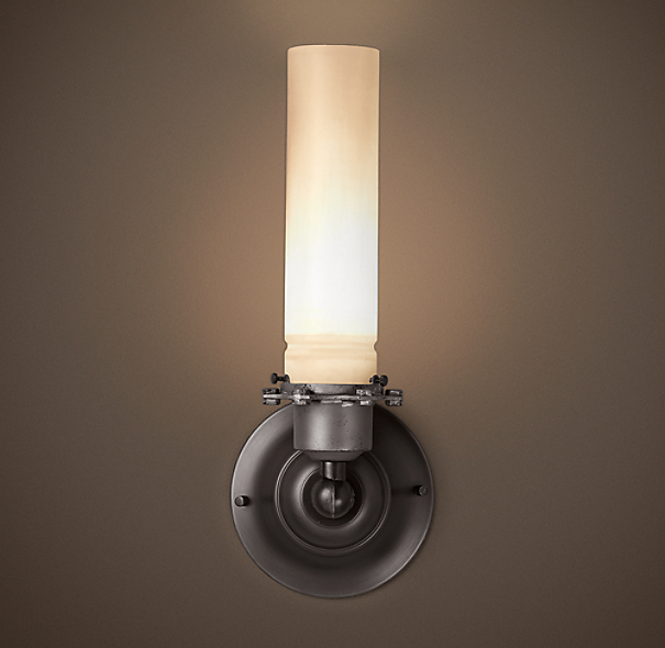 Edison Milk Glass Sconce Gunmetal