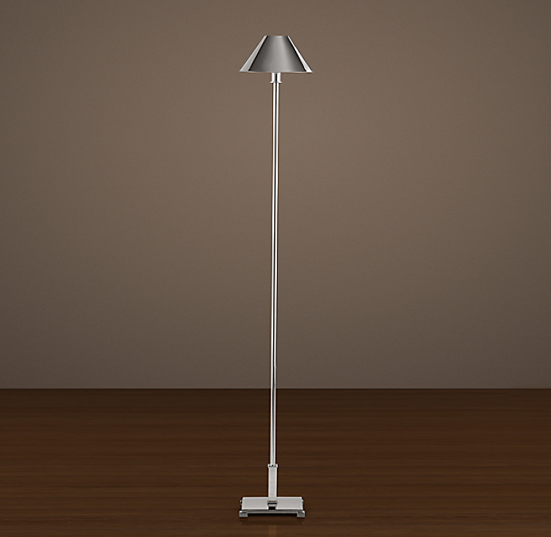 Petite Candlestick Floor Lamp Polished Nickel with Metal Shade