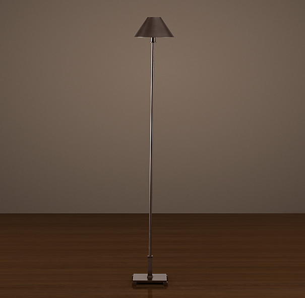 Petite Candlestick Floor Lamp Bronze with Metal Shade