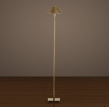 Petite Candlestick Floor Lamp Vintage Brass with Metal Shade