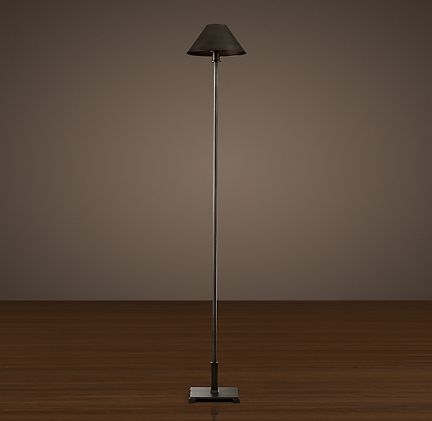 Petite Candlestick Floor Lamp Aged Steel with Metal Shade